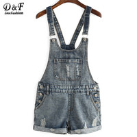 Ladies  Arrival  Casual  Romper And Jumpsuit For  Dungarees Pockets Buttons Ripped Denim Cuffed Rompers
