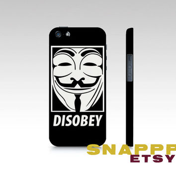 Vendetta Disobey Printed Phone Case for iPhone 4, iPhone 5, Samsung S3,  and Samsung S4.  High quality printed popular phone hardcase.