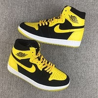 Air Jordan 1 Retro AJ1 Brue Lee Yellow Black Basketball Shoes