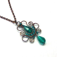 Emerald Teardrop Copper Pendant Necklace, Soutache Styled Wire Wrapped Jewelry