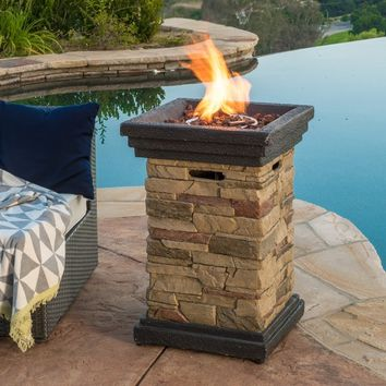 Chesney Outdoor 19-inch Column Propane Fire Pit with Lava Rocks | Overstock.com Shopping - The Best Deals on Fireplaces & Chimineas