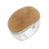 Carnelian Simulated Cocktail Ring, size : 10