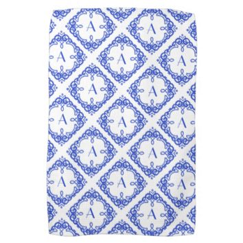 Beautiful Blue White Custom Monogram Kitchen Towel