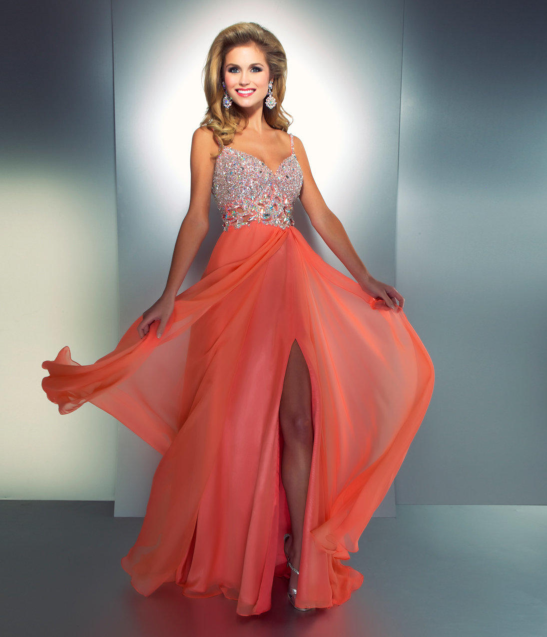 Vintage Wedding Dresses Chicago: Mac Duggal Prom 2013-Coral Chiffon From Unique Vintage