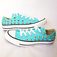 STUDDED CONVERSE SALE Tiffany Blue Studded Shoes Sale Custom Shoes All Star Chuck Mint Aqua Sky Blue
