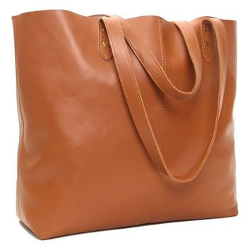 Genuine Leather Tote Bag, Large Everyday Shoulder Bag for Work, Shopping, Gym or Travel - 19 x 6 x 13