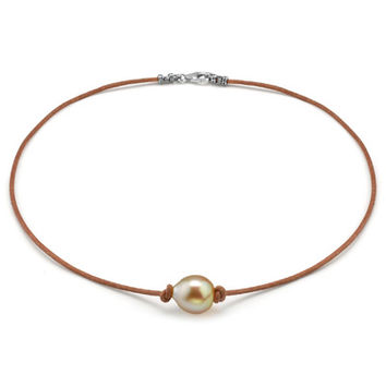 11mm Golden Baroque South Sea Cultured Pearl Leather Necklace - 17