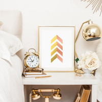 Gold and Pink foil and pink foil chevron arrows printable wall art decor faux gold foil art arrow art for office bedroom decor PINK FOIL