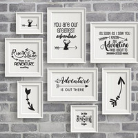Adventure Quote SVG Design Bundle, Clipart Quote Digitial Set, Printable Nursery Decor Sign, Silhouette Stencil Saying, Cricut Die Cut File