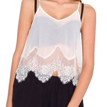 Peace Of Mind Cami Top - Ivory Lace