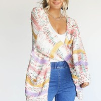 Falling Leaves Pastel Yarn Stripe Cardigan