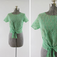 Vintage 1950s Lace Green Short Sleeve Shirt - Size Small 1960s Mid Century Back Button Up Clothing / Sheer Floral