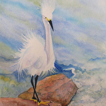 Beach Bird Art, Florida Art, Bird Original Painting, Egret Painting,Seashore Wildlife Watercolor Art,Wall Home Decor Gift,Barbara Rosenzweig