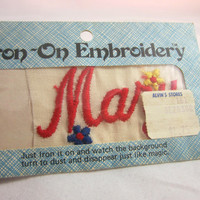 "Vintage Iron on Embroidery , Iron on Name , Iron on ""Mary,"" Iron on Name Patch , Iron on Label , Name ""Mary"" in Red Embroidery"