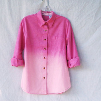 Ombre dip dye bleached button down shirt / grunge / long sleeve pink chambray / womens' size small medium