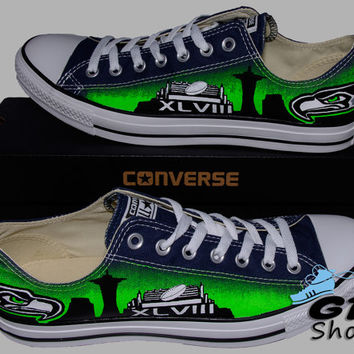 Hand Painted Converse Low Sneakers. Seattle Seahawks. Hawks. Football. Superbowl.12th man. Handpainted shoes. V5.5 Green eyes.