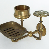Vintage Brass Trio Sink Caddy Wall Mounted