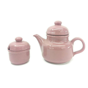 Waechtersbach Ceramic Teapot & Sugar Bowl, Dusty Rose, Vintage Kitchen, Pink Kitchen Decor, Home Decor, Tea Time, Tea Party, Vintage Teapot