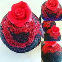 Red Rose Beautiful Heart Bath Bomb. Black Bath Bombs. Kosher Activated Charcoal. Detoxify. Black Water. Dead Sea Salts. Goth.
