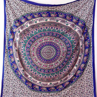 BLUE MULTICOLOR FABRIC Mandala Wall Hanging Hippie Wall Tapestry Throw Large Mandala Bed Bedspread Boho Bohemian Bedding Ethnic Home Decor
