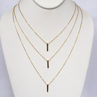 Tri Bar Layered Necklace In Gold