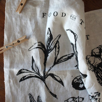 Food for Thought Pure Linen Tea Towel