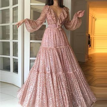 Elegant V Neck Sequined Party Dress vestidos verano Spring Long Sleeve Long Maxi Dress Ruffles Dress Women robe femme