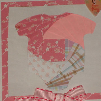 Iris Folded Baby Girl Onesuit Card