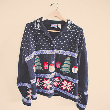 Cute Ugly Christmas Cardigan Sweater Black Women's Size XL Extra Large Presents Gifts Snowflakes Nordic Grandma Sweater Long Sleeves Cozy