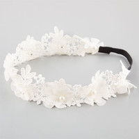 Full Tilt Crochet Pearl Flower Crown Ivory One Size For Women 25932216001
