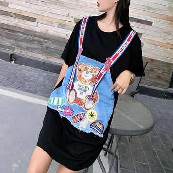 """OFF-WHITE"" Casual Fashion Multicolor Stitching Denim Sequin Cartoon Bear Short Sleeve Middle Long Section T-shirt Dress"