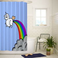 Unicorn Horse Cartoon Rainbow Best Quality Shower Curtain 60x72 Inch
