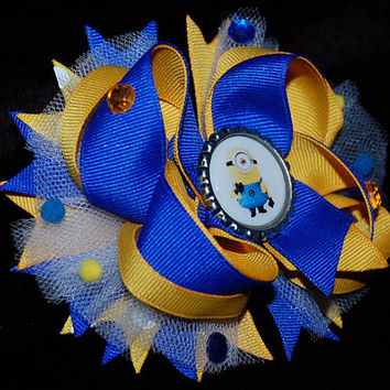 Minion hair bow, boutique bow for girls, blue, yellow ott bow