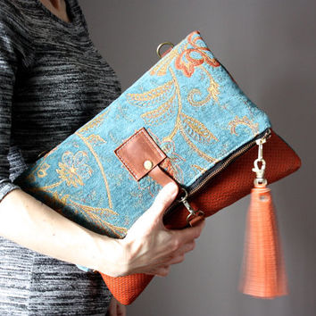 Large Leather foldover clutch, leather bag, Turquoise  tapestry fabric and rust leather clutch, large leather charm, Carpet leather bag