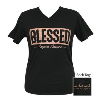 Girlie Girl Originals Blessed Beyond Measure Black Heather V-Neck
