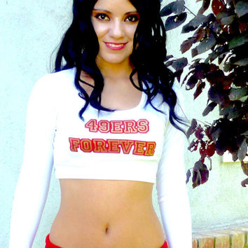 49ers Forever Long Sleeve White Crop Top