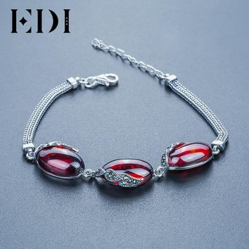 EDI Alice Natural Chalcedony Stone Mystic Red Garnet  Bracelets For Women Bohemian Vintage Style Sterling Silver Fine Jewelry