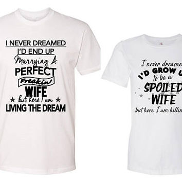 99f7b2133 Funny Husband and Wife Shirts - Spoiled Wife - Anniversary Gift,