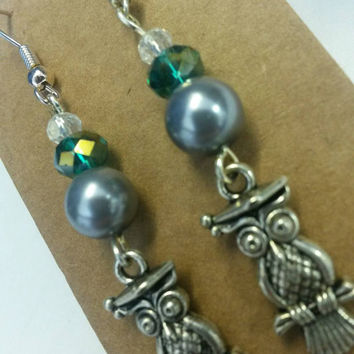 Crystal bead and owl charm drop earrings lovely gift for teacher gift owl lover graduation end of year gift