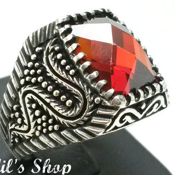 Men's Ring, Turkish Ottoman Style Jewelry, 925 Sterling Silver, Gift, Traditional, Handmade, With Garnet Stone, US Size 9, New