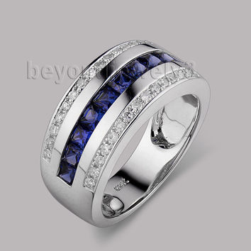 solid 14kt white gold men band natural blue sapphire diamond engagement rings sr0009a