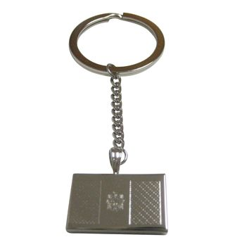 Silver Toned Etched Moldova Flag Pendant Keychain