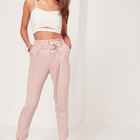 Missguided - Tall Pink Paperbag Waist Cigarette Pants
