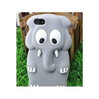 Cute 3D Animal Elephant Silicone Case Cover Skin for iPhone 5 Gray