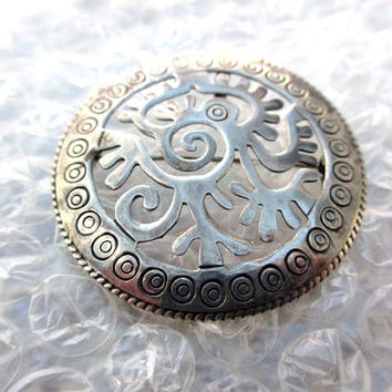 Taxco Sterling Silver Dragon Modernist Pendant Brooch 1940s Vintage Jewelry