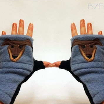 Personalized Doberman Gift. Fingerless Gloves with Pockets for Dog Lovers Customized