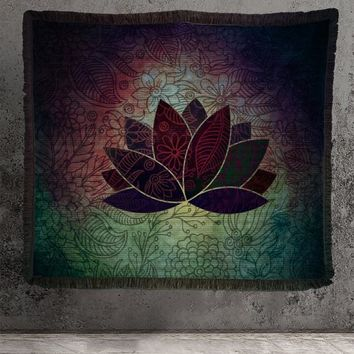 Woven Lotus Tapestry or Blanket Chakra Neutral Wall Hanging or Blanket For Meditation Cotton
