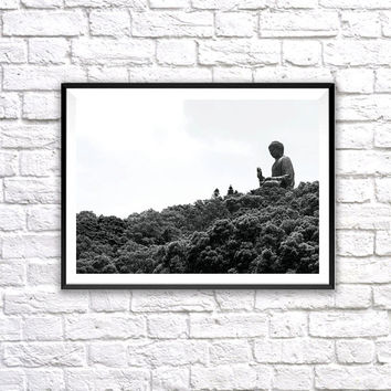 Big Buddha, Wall Art Print, Black and White Photograph, Nature, Landscape, Wall Home Decor