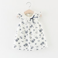 Casual Style Fashion Sleeveless Girls Dress Girl Clothing For Children Floral Pattern Cute Dresses