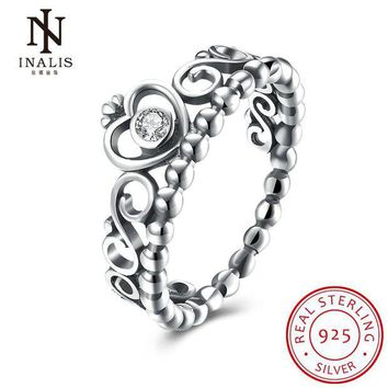 NOVO5 INALIS 925 Sterling Silver My Princess Queen Crown Engagement Ring with Clear CZ Authentic Sterling-Silver-Jewelry
